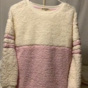 🆕 Wallflower Fuzzy Pink/Cream pullover Sz. Med